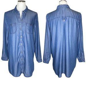 J. Jill Denim Chambray Side Button Tunic Shirt Dress